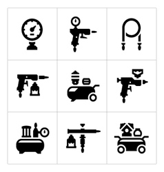 Set icons of compressor and accessories vector