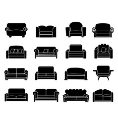 sofa icons set vector image