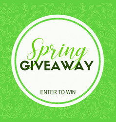 Spring giveaway card template for blogs vector