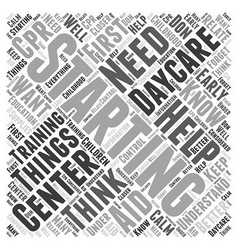 Starting a daycare center word cloud concept vector