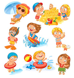 Summer vacation isolated on white background vector