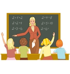 Teacher at blackboard explains children vector image vector image