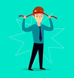 The businessman ties up a bandage on his head vector