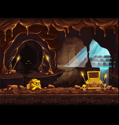 The treasure cave with a waterfall vector