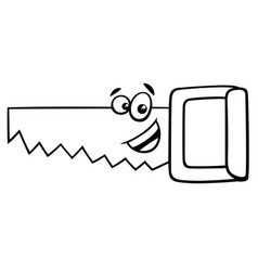 Wood saw cartoon coloring page vector