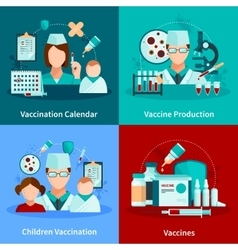Vaccination flat 2x2 design concept vector