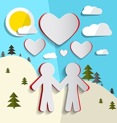 Paper cut people holding hands on nature landscape vector