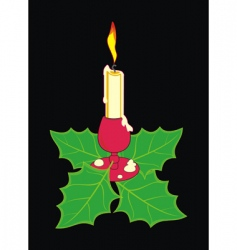 christmas candle in a candlestick vector image