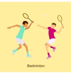 Badminton players in match competition vector