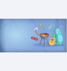 Camping horizontal banner items cartoon style vector