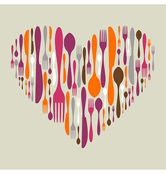 Cutlery icon set in heart shape vector