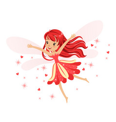 Beautiful smiling red fairy girl flying colorful vector