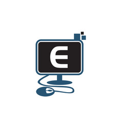 Digital technology initial e vector