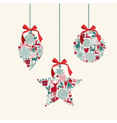 Merry christmas hanging baubles elements vector