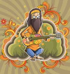 Hippie with guitar in nirvana vector