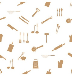 Home kitchen cooking utensils seamless pattern vector