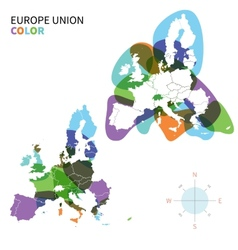 Abstract color political map of europe vector