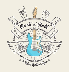 Trendy retro vintage insignias with guitar vector