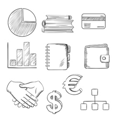 Business and financial sketched icons vector