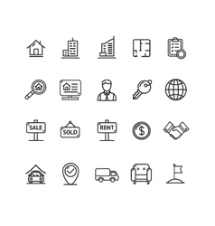 Real estate outline icon set vector