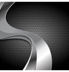 Abstract perforated metal texture with silver vector image