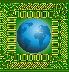 Motherboard globe vector image