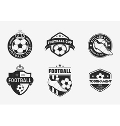 Set of vintage color football soccer championship vector