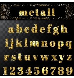 Gold glitter alphabet hand drawn letters vector