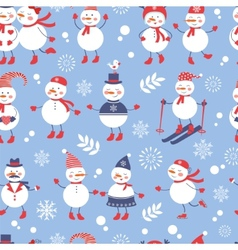 A cute snowmen seamless pattern vector