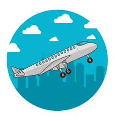 airplane flying on the background city vector image