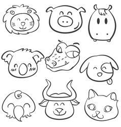 animal head style doodle collection vector image
