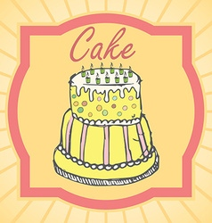 Big layer cake colored hand drawn sketch vintage vector