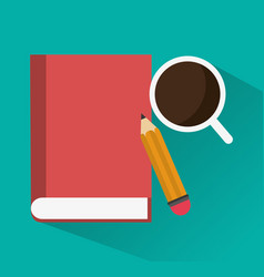 Book pencil and coffee icon image vector