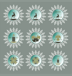 christmas snowflake of green hue set vector image vector image