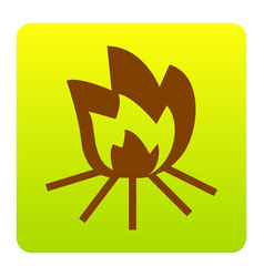 Fire sign brown icon at green-yellow vector