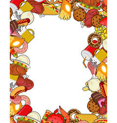 Food gourmet frame background of feed edible vector