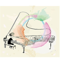 Girl playing piano sketch vector image