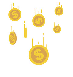 Gold coins falling down with line speed vector