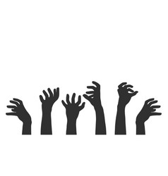 hands on white background zombie theme vector image vector image