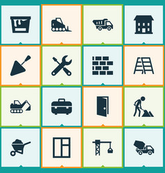 Industry icons set collection of tractor builder vector