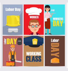 International labor day themed set vector