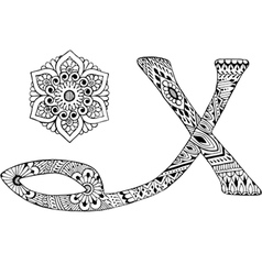 letter X decorated in the style of mehndi vector image vector image