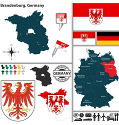 Map of Brandenburg vector image vector image