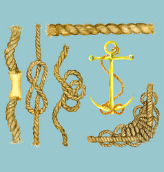 Marine set with ropes and anchor vector