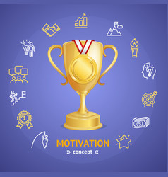motivation and productivity concept with golden vector image vector image