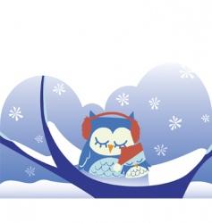 owls sleeping on snowy tree vector image vector image