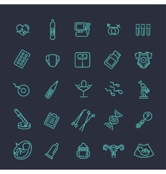 Pregnancy and motherhood line icons set vector