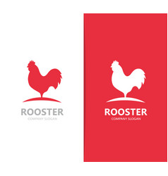 red rooster logo combination cock and vector image vector image
