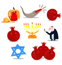 rosh hashanah symbols pack vector image vector image