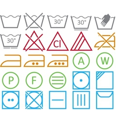 Set icon of washing signs vector